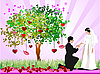 Vector clipart: wedding card with tree of hearts, bride and groom
