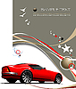 Vector clipart: Light brown business background with red sport car