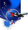 Vector clipart: Blue poster with passenger plane