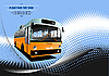 Vector clipart: Blue dotted poster with bus