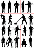 Vector clipart: People silhouettes. Work and Sport