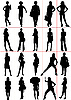 Vector clipart: People silhouettes - Women