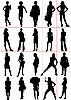 Vektor Cliparts: Frauen-Silhouetten