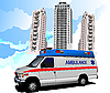 Vector clipart: residential area and ambulance