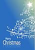 Vector clipart: Blue Christmas card with fir tree