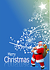 Blue Christmas card with Santa Claus