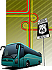 Vector clipart: poster with bus