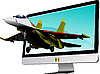 Vector clipart: Combat aircraft and computer monitor