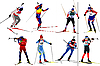 Eight biathlon runners | Stock Vector Graphics