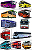 Vector clipart: Eleven city buses