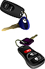 Vector clipart: Two car ignition keys with remote control