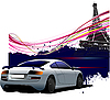 Vector clipart: gray car and Paris Eiffel tower