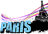 Vector clipart: 3D word Paris and Eiffel tower