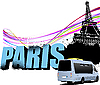 Vector clipart: Eiffel tower and minibus