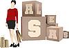 Vektor Cliparts: Shopping girls stehen in der Nähe Verkauf Würfel schneiden.