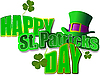 green hat and shamrocks for St. Patrick`s Day