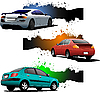 Vector clipart: Three grunge banners with cars