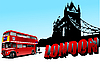 Vector clipart: London Tower bridge and double-decker bus