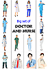 Medical set of doctors and nurses