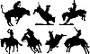 Seven rodeo silhouettes