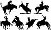 Vektor Cliparts: Sieben Rodeo-Silhouetten