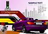 Vektor Cliparts: High-Tech-Hintergrund mit lila Cabrio