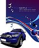 Vector clipart: blue car, stars and birds