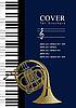 Vektor Cliparts: Abdeckung für Broschüre mit Piano und Französisch Horn. krank