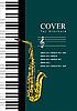 Vektor Cliparts: Abdeckung für Broschüre mit Piano und Saxophon.
