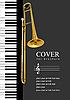 Vektor Cliparts: Abdeckung für Broschüre mit Klavier und Posaune
