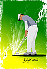 Vector clipart: Golfer hitting ball with club