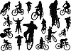 Vector clipart: Eighteen people silhouettes with bicycle
