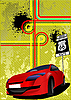Vector clipart: poster with red car