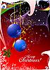 Фото 300 DPI: красная рождественская открытка с шарами