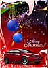 Векторный клипарт: красная рождественская открытка с автомобилем