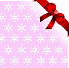 Vector clipart: Snowflakes pink background with red bow