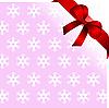 Векторный клипарт: розовый фон со снежинками и красным бантом