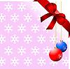 Векторный клипарт: розовый фон со снежинками, бантом и шарами