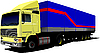 Vector clipart: of yellow truck. Lorry with cargo container.