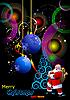 Векторный клипарт: рождественская открытка с Санта-Клаусом