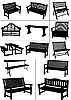 Set of garden benches