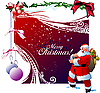 Vector clipart: red Christmas card with Santa Claus