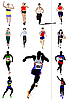 Vector clipart:  running men and women.