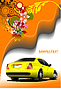 Vector clipart: Floral poster with yellow car