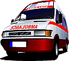 Modern ambulance van