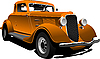 Vector clipart: Old orange sedan car