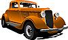 Векторный клипарт: Старинный оранжевый автомобиль