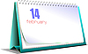 desk calendar. 14 february. Valentine`s Day