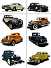 Vector clipart: Eight vintage cars