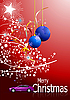Vector clipart: red Christmas card with balls and car